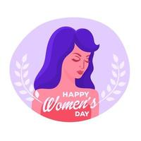 Ragazza con il messaggio del giorno delle donne felici vettore