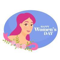 Ragazza con le rose rosa e messaggio del giorno delle donne felici vettore