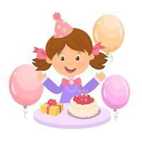 ragazza felice per il suo compleanno vettore