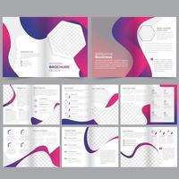 Modello di brochure aziendale geometrico rosa e viola di 16 pagine vettore