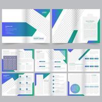 Modello di brochure aziendale verde e blu di 16 pagine
