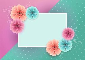 Sfondo colorato primavera con bellissimi fiori e carta vuota vettore