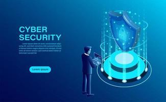 Pagina di destinazione del concetto di sicurezza informatica vettore