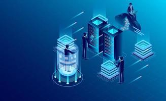 Concetto di tecnologia di archiviazione della nuvola della stanza del server di centro dati
