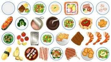 Raccolta di alimenti su sfondo bianco