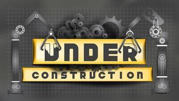 Carta scura tagliata cartello in costruzione con ingranaggi