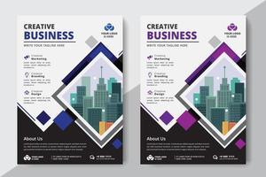 Flyer Diamond Business A4 Formato 2 Volantini Colore viola e blu vettore