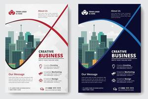 Business Flyer A4 Size 2 Flyers bianco e blu vettore