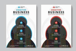 Business Flyer A4 dimensioni 2 volantini cerchi e colore rosso e blu vettore