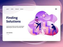 Trovare il modello di sito Web di Solutions vettore
