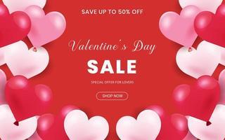 Banner di vendita di San Valentino con cornice di confine fatta di palloncini a cuore vettore