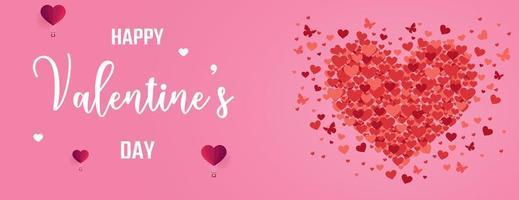 Banner di San Valentino con cuori e farfalle vettore