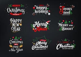 Set di tipografia natalizia vettore