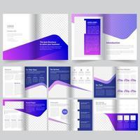 Modello di brochure aziendale sfumatura blu e viola vettore