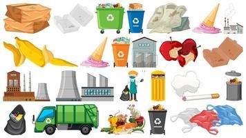 Raccolta di oggetti a tema spazzatura e inquinamento