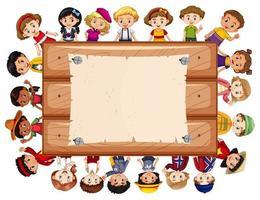 Modello di progettazione banner con molti bambini vettore