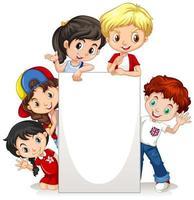 Modello di cornice con bambini felici vettore