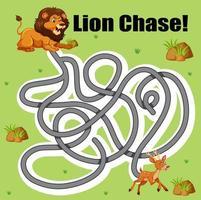 Gioco del labirinto di cervo inseguimento leone vettore
