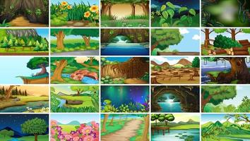 Set di paesaggi natura nera vuota