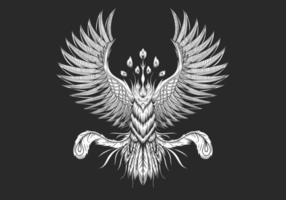 disegno dell'uccello fenice vettore