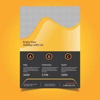Modello di volantino di viaggio aziendale design ondulato giallo vettore