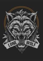 Illustrazione arrabbiata del fronte della bestia del lupo per la maglietta vettore