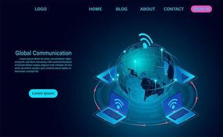 Rete Internet di comunicazione globale in tutto il pianeta