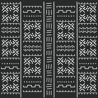 Modello etnico tribale in bianco e nero con elementi geometrici