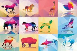 Collezione di animali poligonali geometrici vettore