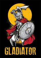illustrazione di guerriero cavaliere gladiatore vettore