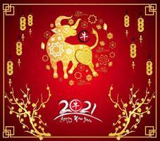 poster cinese dorato del nuovo anno 2021 con bue e cornice