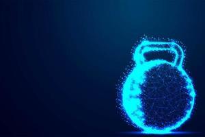 campana bollitore blu incandescente wireframe