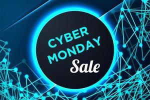 poster del cyber lunedì con cornice circolare e forme collegate