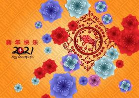 Capodanno cinese 2021 anno del bue sul modello arancione con fiori