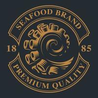 emblema vintage con tentacolo di polpo