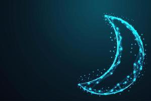luna geometrica poligonale incandescente
