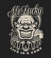 illustrazione di un pagliaccio spaventoso in stile tatuaggio