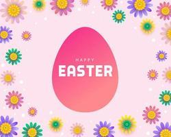 uovo di Pasqua rosa circondato da fiori colorati