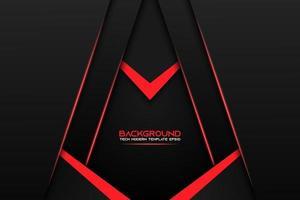 sfondo angolo nero a strati con dettagli rossi
