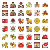 insieme cinese dell'icona di nuovo anno