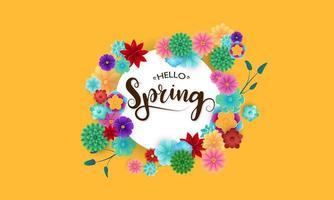 primavera sfondo giallo e fiori vettore