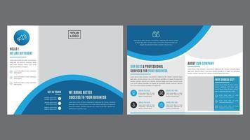 modello dell'opuscolo arrotondato blu per uso professionale