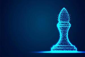 struttura del telaio blu poligono filo metallico vescovo scacchi