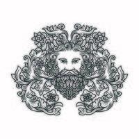 ornato floreale illustrazione di mans testa con la barba vettore