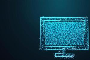 monitor del computer in poli design astratto linea blu
