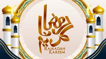 Ramadan Kareem design con minareti su entrambi i lati