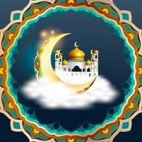 Ramadan Kareem design con moschea araba all'interno della falce di luna