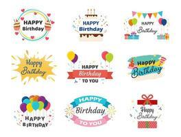 raccolta di banner di buon compleanno vettore