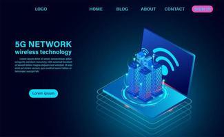 concetto di città intelligente con il simbolo 5g per Internet wireless
