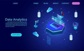 visualizzazione della rete di big data vettore